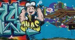 Boschveldtuin: graffiti op fabrieksgebouwen
